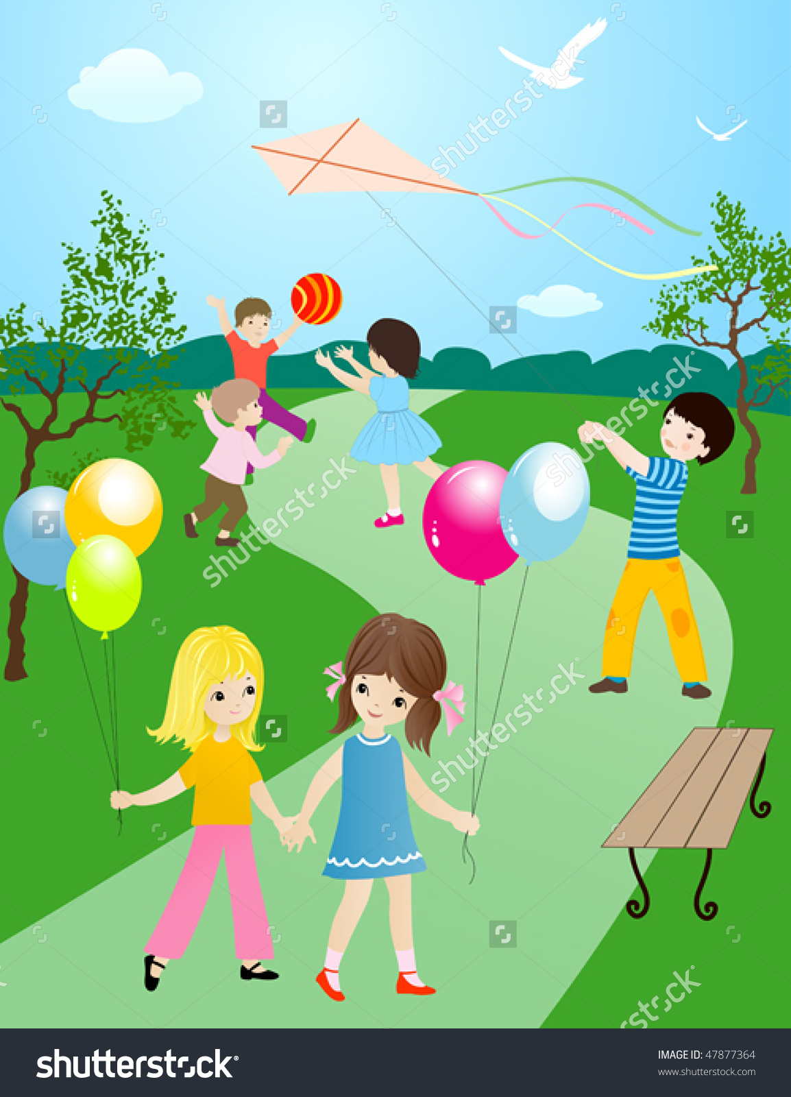Happy Children Playing Having Fun Outside Stock Vector 47877364.