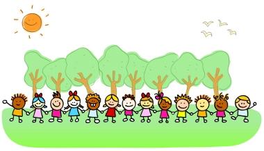Children in nature clipart.