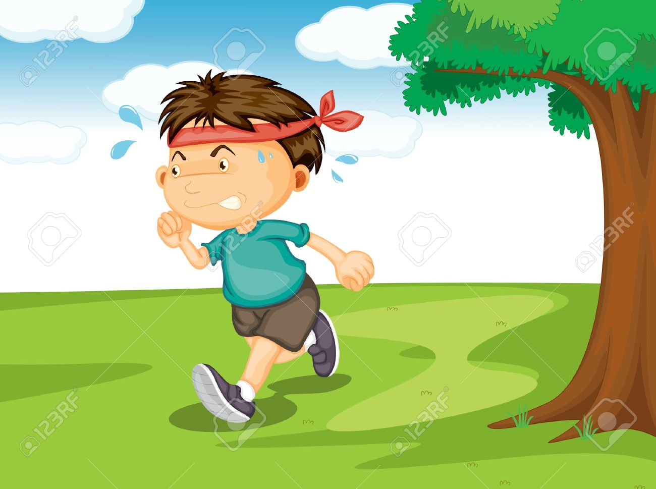 Illustration Of A Boy Running Outside In The Nature Royalty Free.