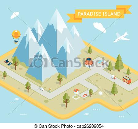 Clipart Vector of Travel banner. Paradise island isometric flat.