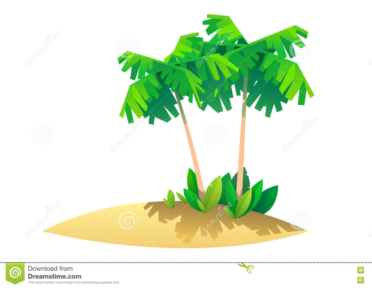 Tropical Island With Palms, Illustration Of Paradise Stock Vector.