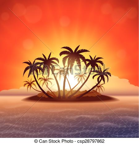 Clip Art Vector of Paradise island at sunset.