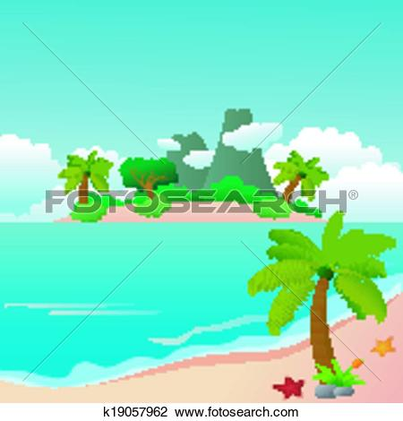 Clipart of Beautiful Pond And Lake Nature Land k19057963.