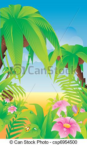 Vector Clipart of Tropical paradise.