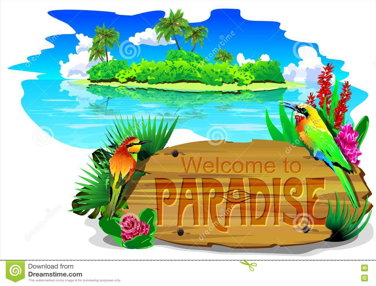 Welcome To Paradise (vector) Stock Vector.