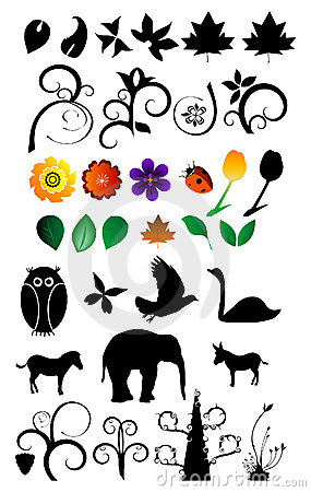 Nature Clipart Set Royalty Free Stock Photography.