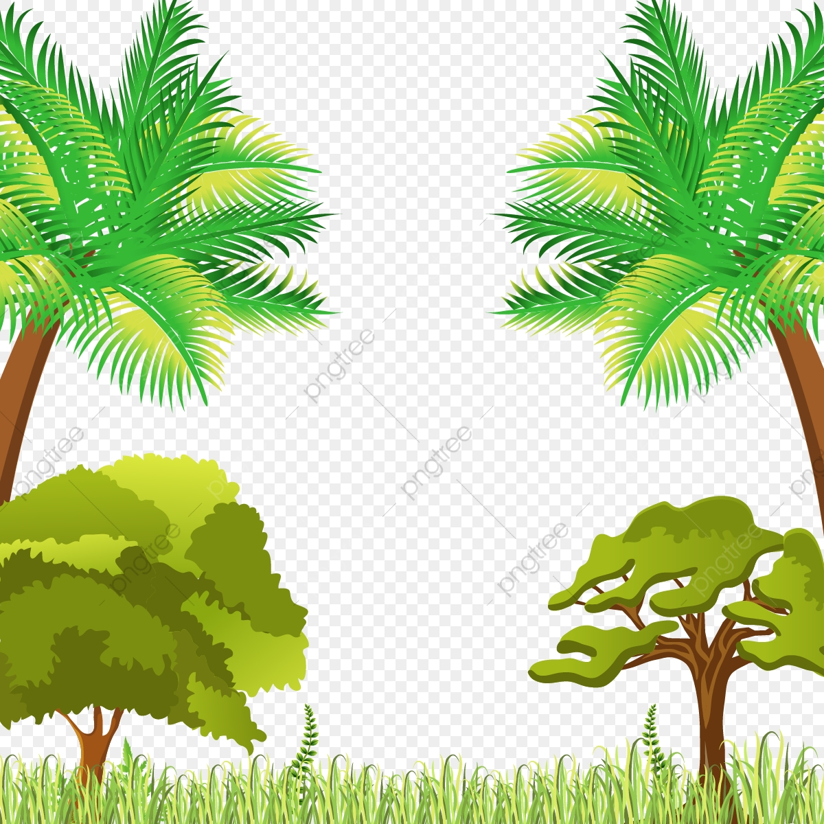 Beautiful Natural Scene With Trees And Grass Vector.
