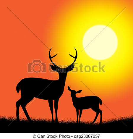 Stock Illustrations of Deer Wildlife Represents Nature Reserve And.