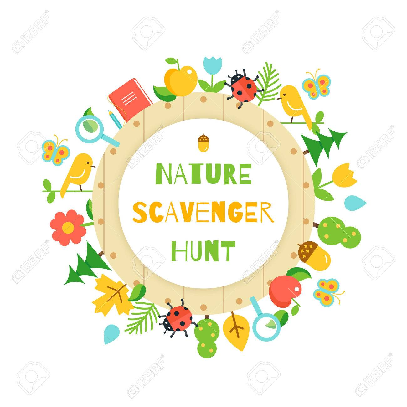 Nature Scavenger Hunt. Kids Game Poster.