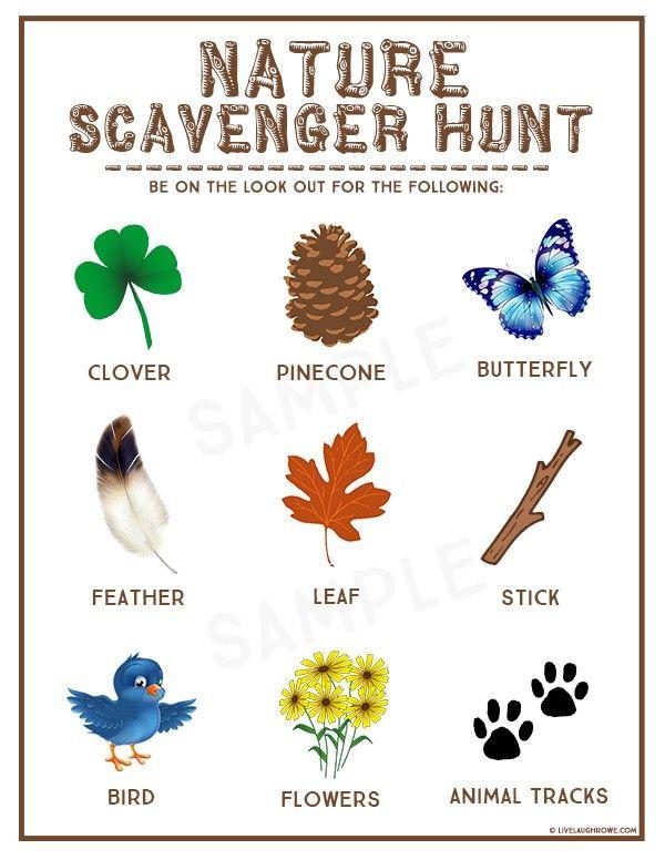 Nature Scavenger Hunt Kids Summer Activity.