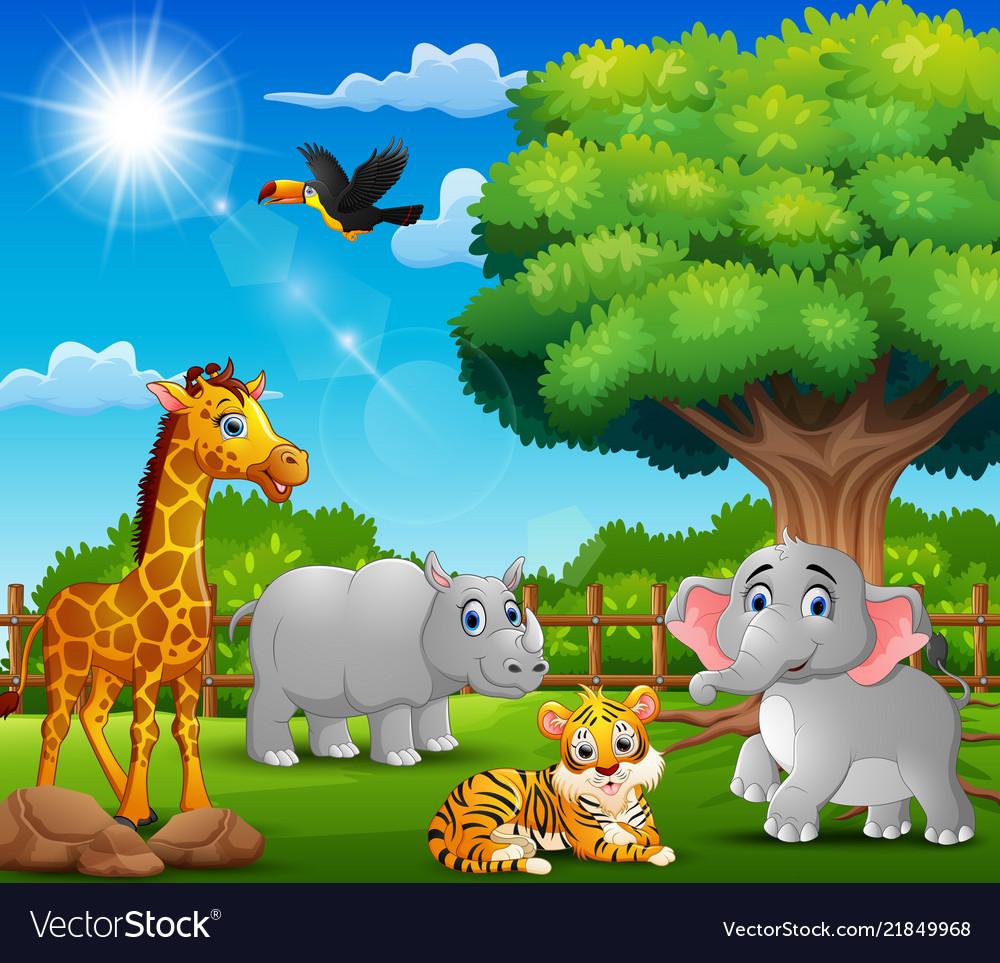 Happy animals on nature scene.
