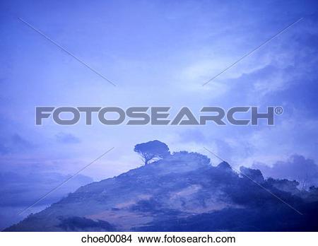Stock Photo of double exposure, hilltop, surrealism, nature.