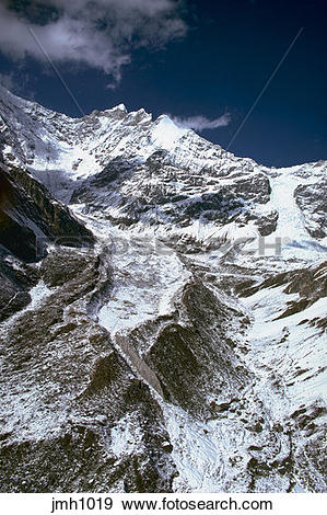 Stock Photograph of Mountains with snow, in the Himalayas in Nepal.