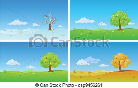 Vector Clip Art of Four seasons. Nature Background.