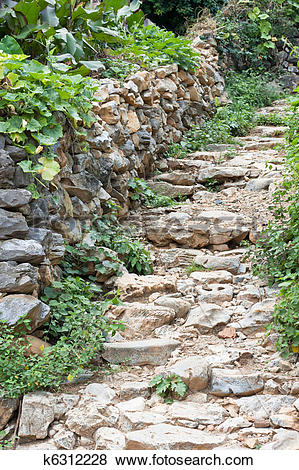Pictures of nature stone path and wall k6312228.