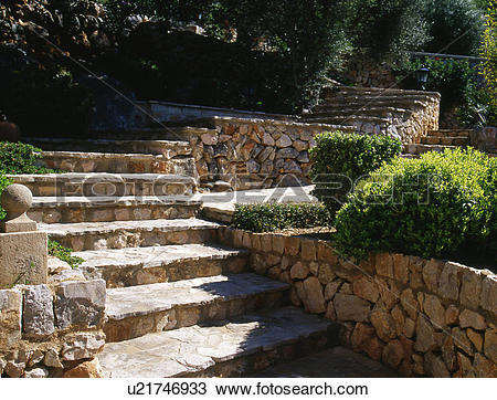 Stock Photo of nature stone stairs u21746933.