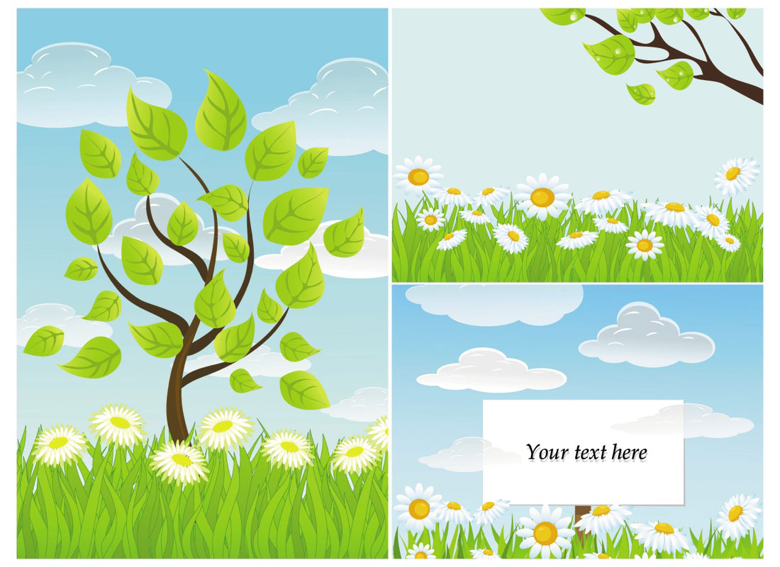 Summer nature backgrounds vector.