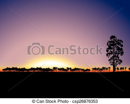 Clipart Vector of Nature sunset background with forest on horizon.