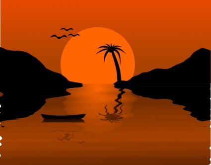 Sunset Water Scene clip art Free Vector.