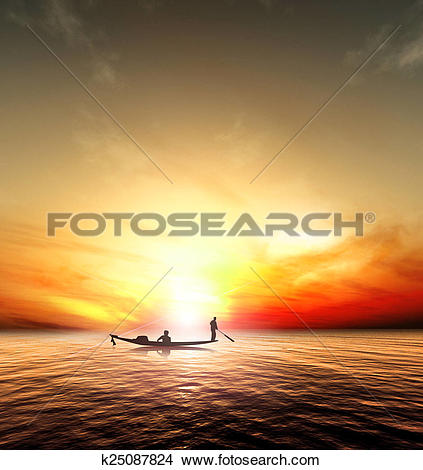 Drawings of Silhouette picture fisherman nature sunset k25087824.