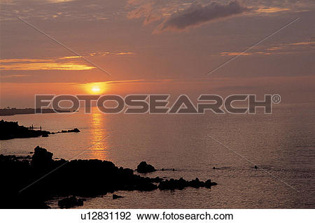 Stock Photo of sunrise, nightfall, sky, landscape, scenery, nature.
