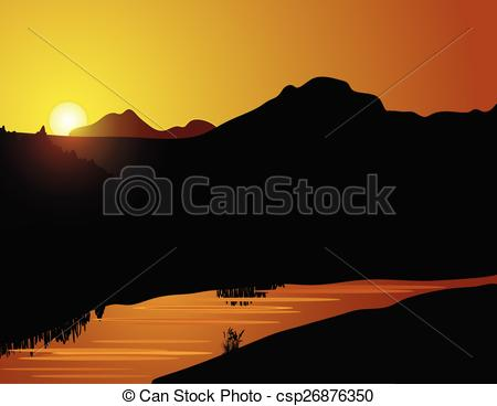 Clipart Vector of Nature sunset background with forest and calm.