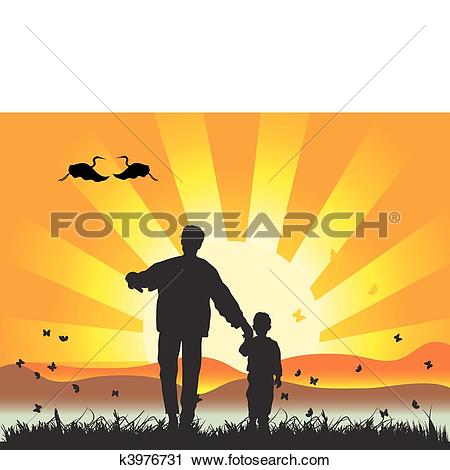 Clipart of Happy family walks on nature, sunset k3976731.
