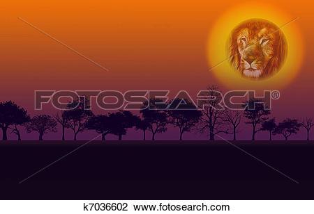 Clip Art of Africa Nature Sunset k7036602.