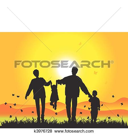Clip Art of Happy family walks on nature, sunset k3976728.