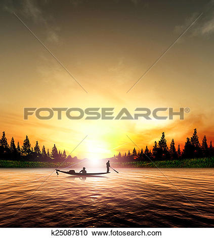 Stock Illustrations of Silhouette picture fisherman nature sunset.