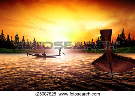 Stock Illustration of Silhouette picture fisherman nature sunset.