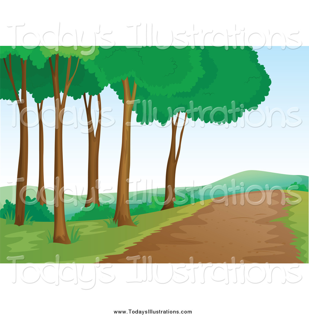 Clipart of a Nature Trail and Trees by colematt.