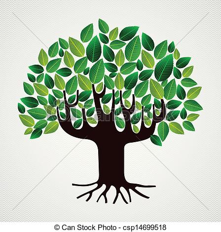 Vector Clip Art of Nature care concept leaves tree.