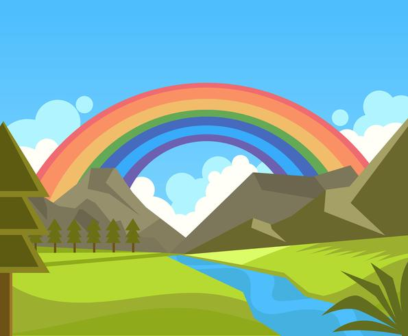 Rainbow Background in Nature Vector.