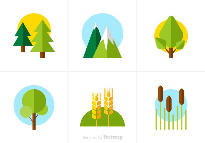 Free Flat Nature Vector Icons.