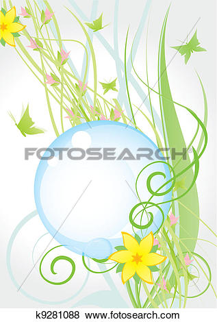 Stock Illustration of yellow nature flowers round frame k9281088.