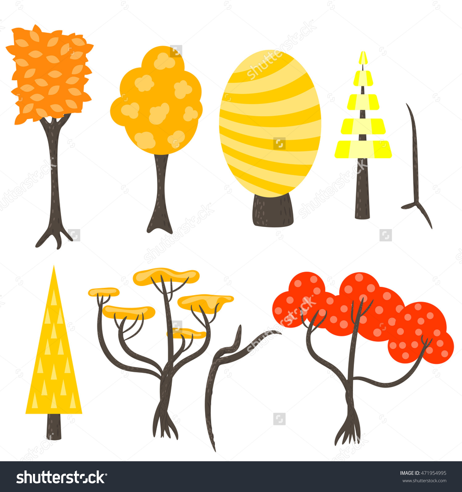 Vector Tree Clip Art Nature Set Stock Vector 471954995.