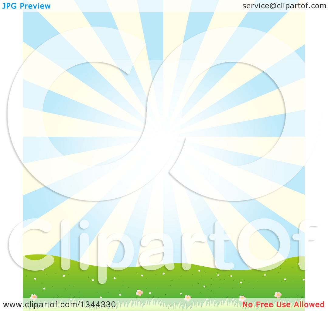 Clipart of a Nature Background of a Blue and Yellow Sun Burst over.