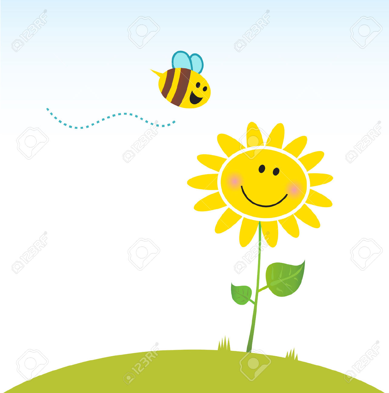 Spring & Nature: Happy Yellow Flower With Bee. Vector Royalty Free.