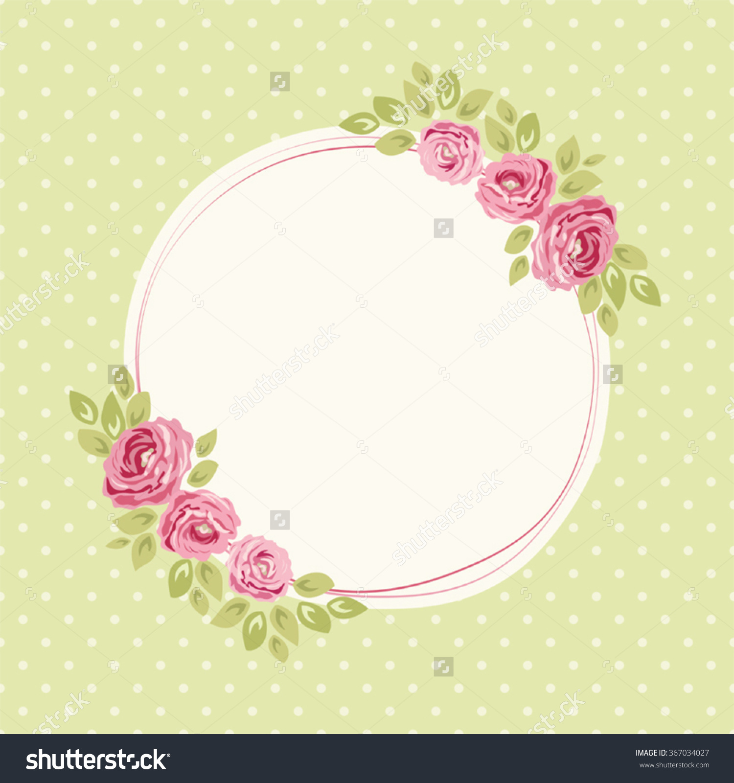 Cute Shabby Chic Frame With Roses On Seamless Polka Dots.