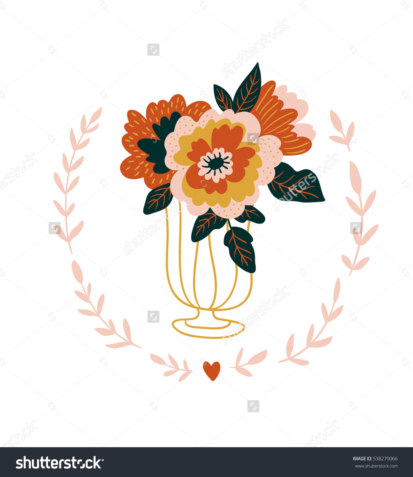 Hand Drawn Flowers Glass Scandinavian Style Stock Vector 538270066.