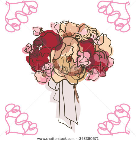 Hand Draw Peony Flower Vector Stock Vector 418753042.