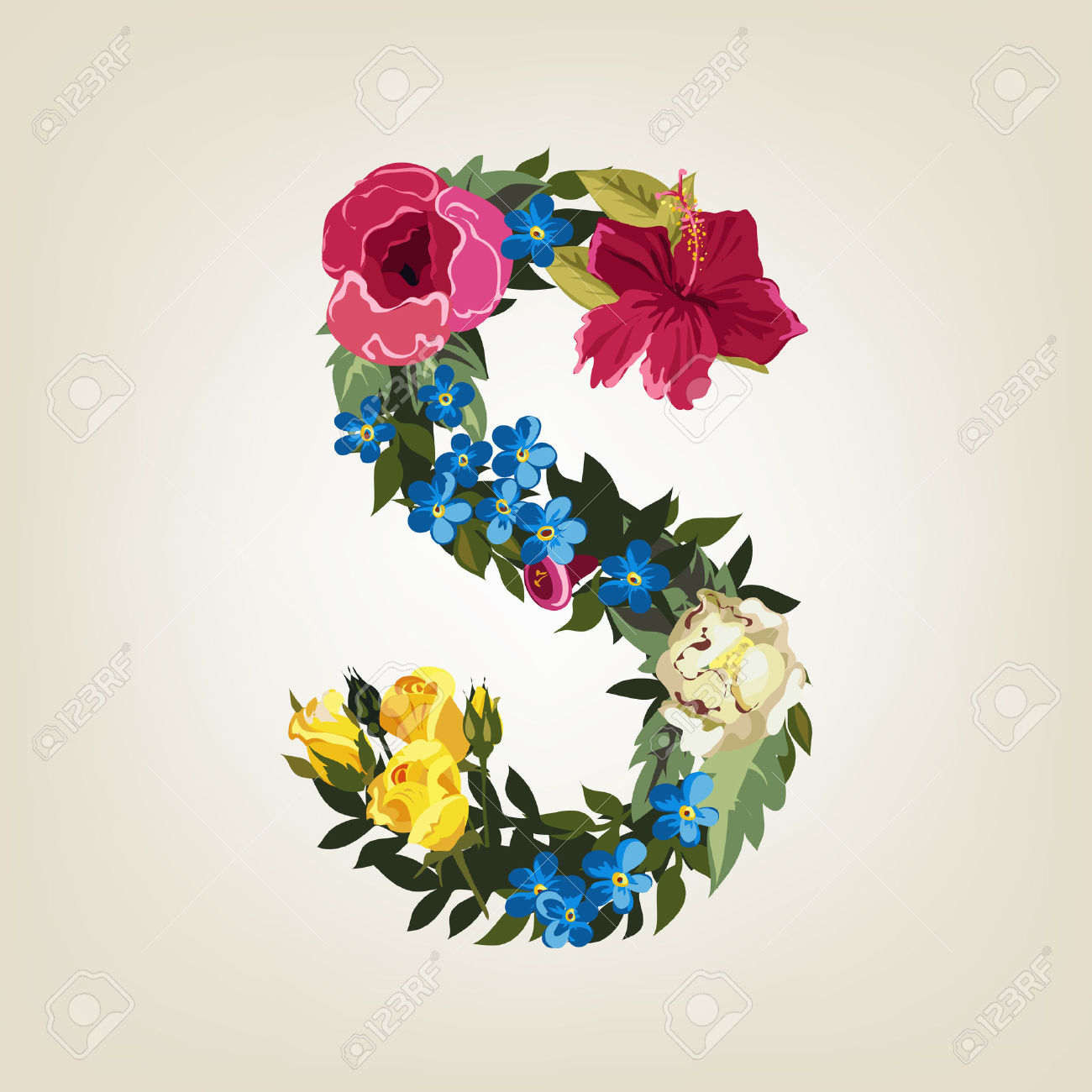 S Letter In Flower Capital Alphabet Royalty Free Cliparts, Vectors.