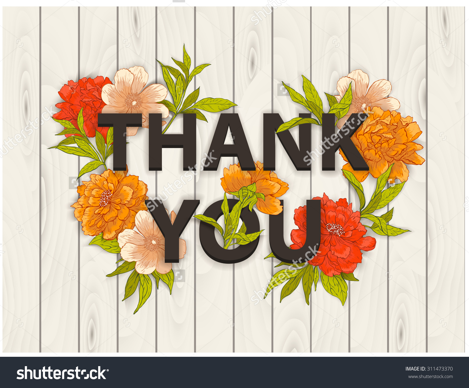 Vector Card Words Thank You Hand Stock Vector 311473370.