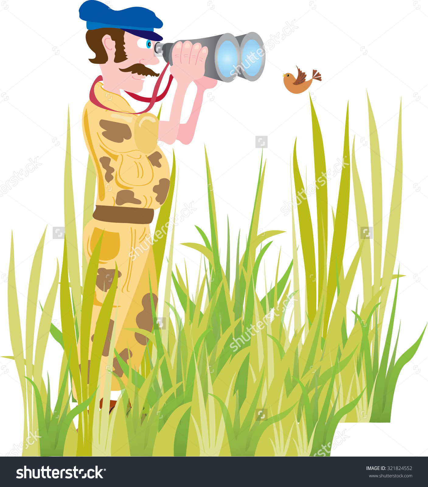 Cartoon Man Bird Watching Hes Dressed Stock Vector 321824552.