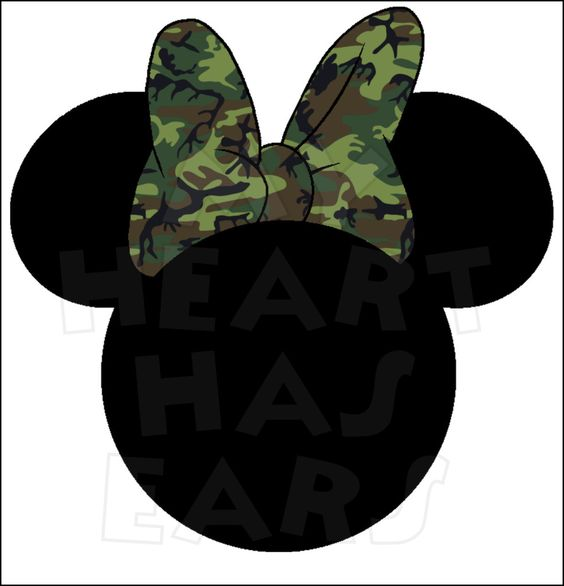 Camo Camouflage Minnie Mouse head INSTANT DOWNLOAD digital clip.