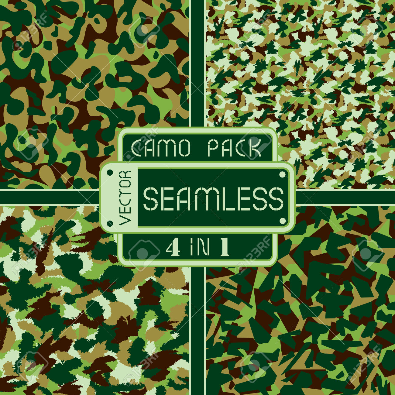 War Universal Nature Camouflage Pack 4 In 1 Seamless Vector.