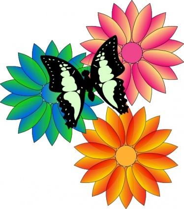 Borboleta e flores clipart clip arts, clip art grátis.