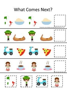 Italy themed What Comes Next preschool educational learning game.