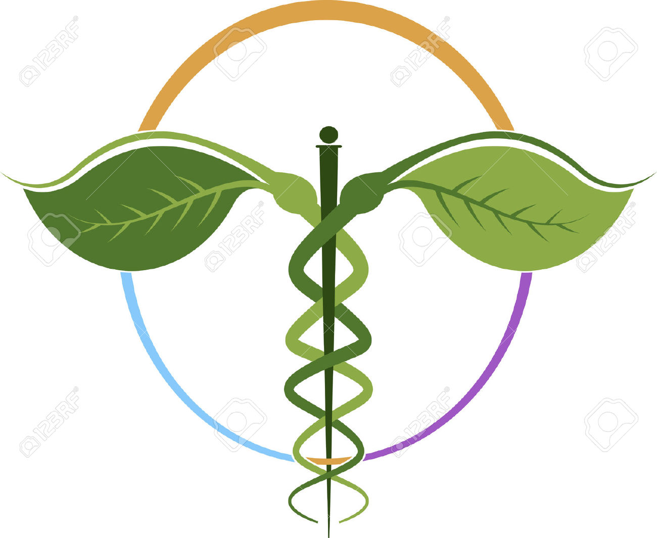 Illustration Art Of A Herbal Caduceus With Isolated Background.